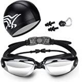 Swim Goggles, Swimming Goggles with Anti Fog UV Protection with Nose Clip Ear Plugs Swim Cap Crystal Clear Vision with Protective Case -Fieldoor® Swimming Bundle Comfortable Fit For Adults, Men, Women, Youth, Kids
