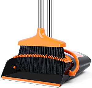 Dustpan and Broom Set, 51 in Long Handle Upright Standing Broom Dustpan Set Dustpan with Broom Combo for Indoor Outdoor Garage Kitchen Room Office Lobby