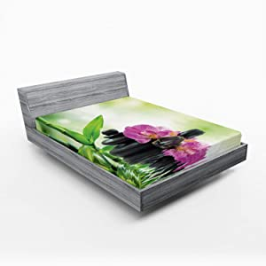 Ambesonne Spa Fitted Sheet, Orchids and Rocks in The Mineral Rich Spring Water Deep Treatment Cure, Soft Decorative Fabric Bedding All-Round Elastic Pocket, Queen Size, Black Green