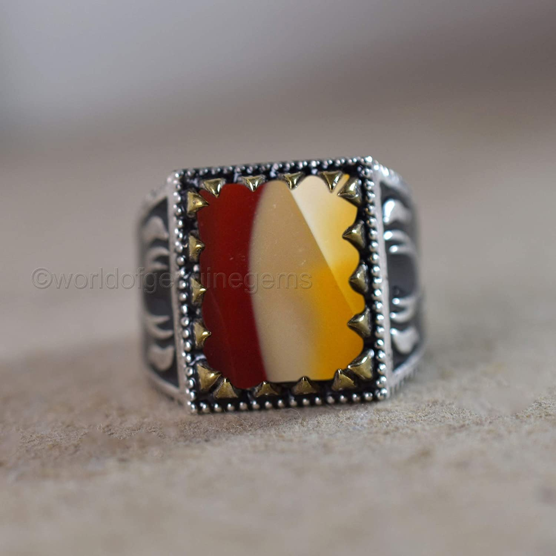 Mookaite jasper coffin shaped statement ring