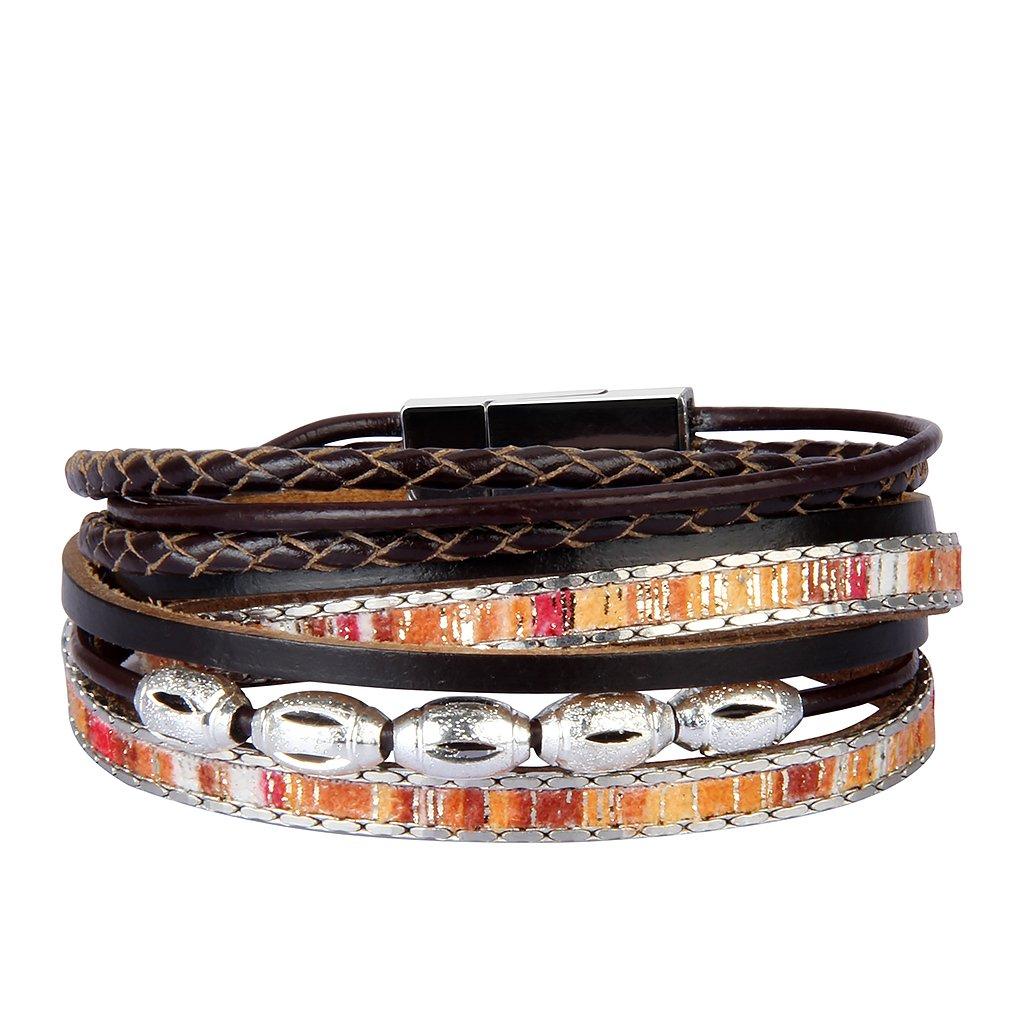 JOYMIAO Wrap Bracelets for Women Good Lucky beads Handmade Genuine Leather Cuff Wristbands Jewelry Bangle by JOYMIAO