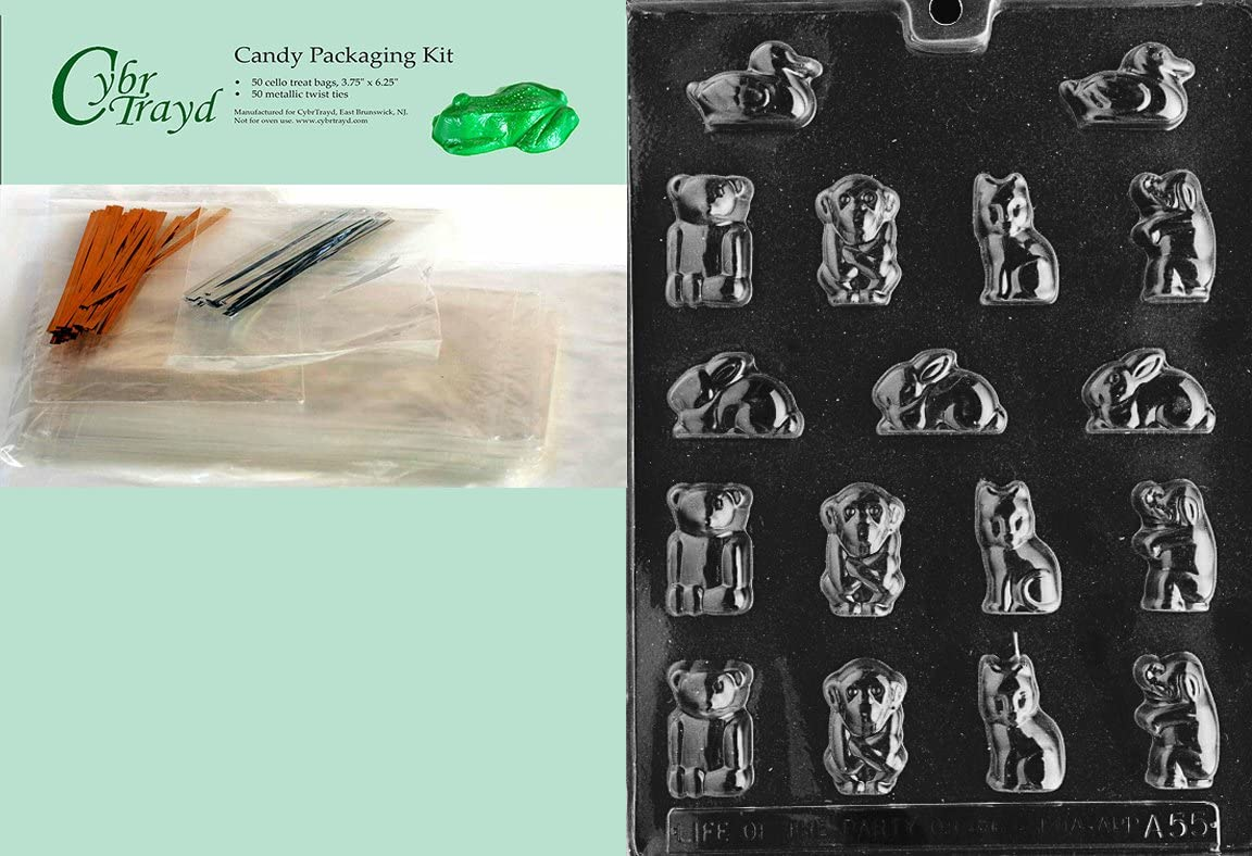 Cybrtrayd Life of the Party A055 Small Animals Chocolate Candy Mold in Sealed Protective Poly Bag Imprinted with Copyrighted Cybrtrayd Molding Instructions