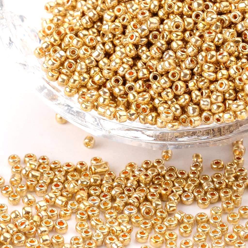 Lote de 1000 perlas de rocalla para artesan/ías di/ámetro de 2/mm doradas