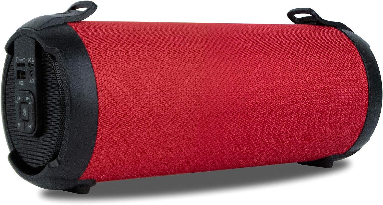 NGS Roller Tempo Red - Altavoz portátil de 20W Compatible con Tecnología 5.0 y True Wireless Stereo (USB/SD/AUX IN). Color Rojo