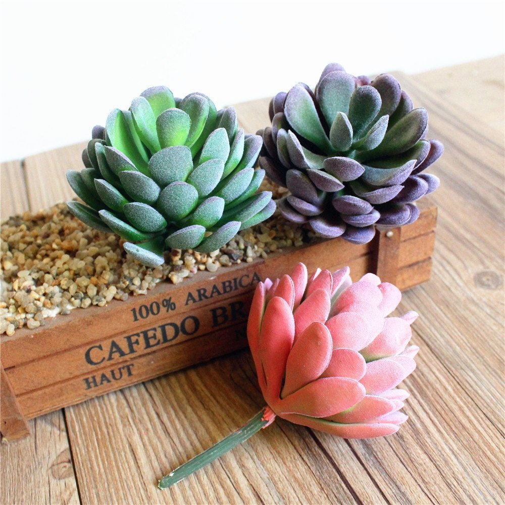 Unpotted Artificial Succulents Assorted Fake Succulents in Faux Succulents for Home Decoration and Wedding Centerpieces Pink Green Purple Shelltech 3 PCS Mini Faux Succulent