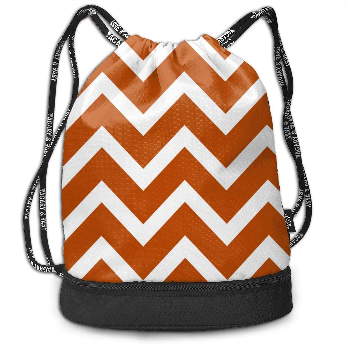 Orange Chevron Large Scale Drawstring Backpack Sports Athletic Gym Cinch Sack String Storage Bags for Hiking Travel Beach