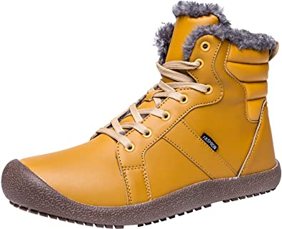 eb1e3c832 L-RUN Women's Snow Boots Lace Up Ankle Snow Booties Anti-Skid Yellow 5.5