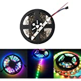 HKBAYI 5M 16.4F 5V WS2801 addressable RGB LED magic dream color Strip light 32Leds/M 160led non-Waterproof music strip light