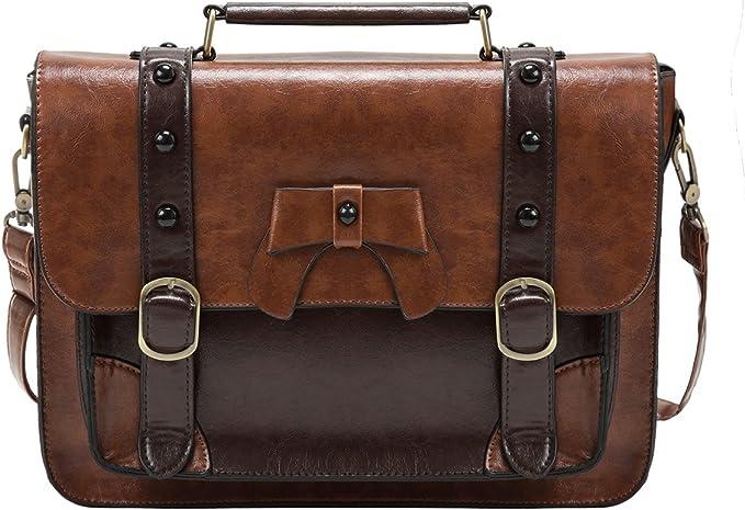 Vintage Vegan Pleather Clip  Buckle Closure Attache Case  Briefcase