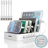 MSTJRY USB Multi Ladestation für mehrere Geräte mit Schalter Handy und Tablet Ladestation 40W Dockingstation für Universell Ladegerät Kabel Organizer Für Handys & Tablet (5 ports mit kabel, Weiß)
