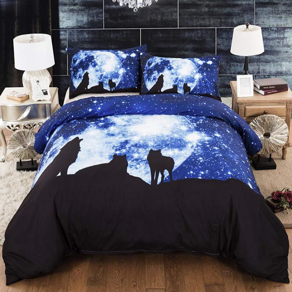 Loup #3PCS, EU Petit: 135 * 200cm YOUJIAA Parures de lit Ensemble de literie Multi-Taille /él/égant Housse de Couette taies doreiller avec Impression
