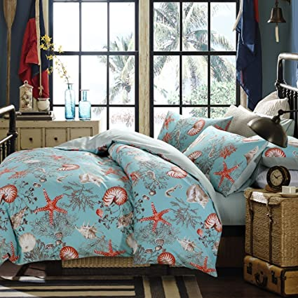 brandream luxury nautical bedding designer beach themed bedding sets 3 piece 100 cotton duvet - Nautical Bedding