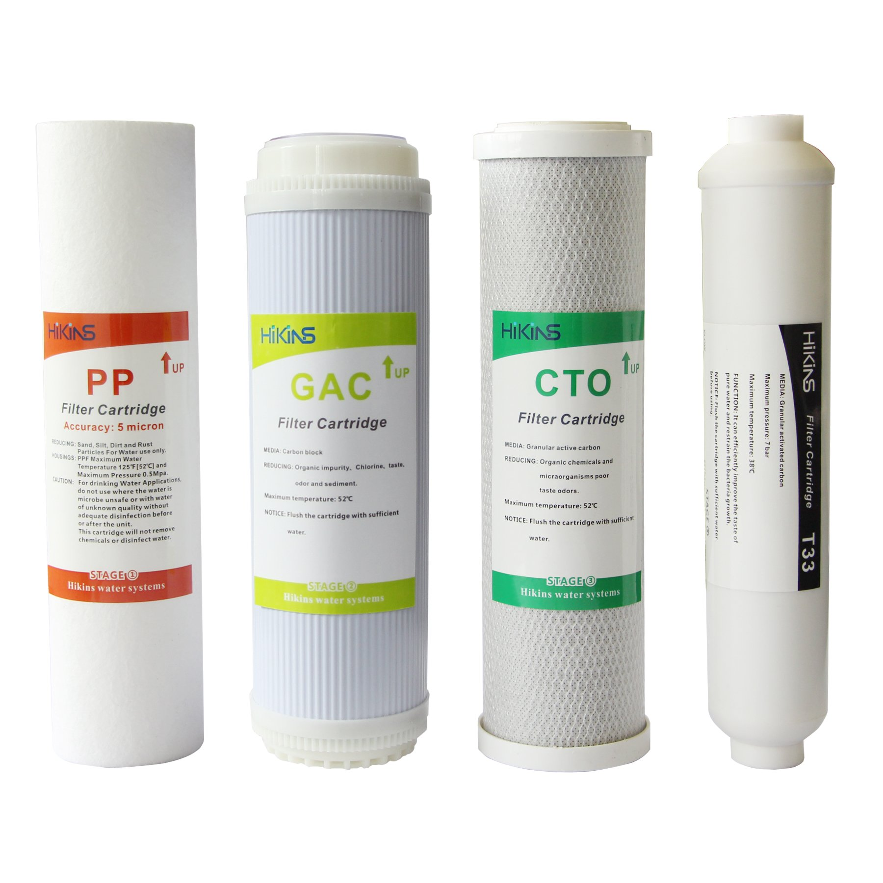 HiKiNS Reverse Osmosis Filter Replacement Set for Universal 5-Stage RO Water Systems with 10-in PP Sediment, GAC,CTO and T33 Post Carbon (4-Pack NO Membrane)