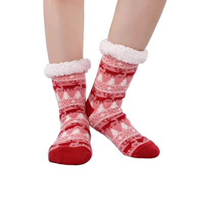 Blulu Winter Socks Fuzzy Slipper Socks Fleece Lining Knit Stockings for Women Girls and Kids Supplies (Color 4) at Amazon Women's Clothing store