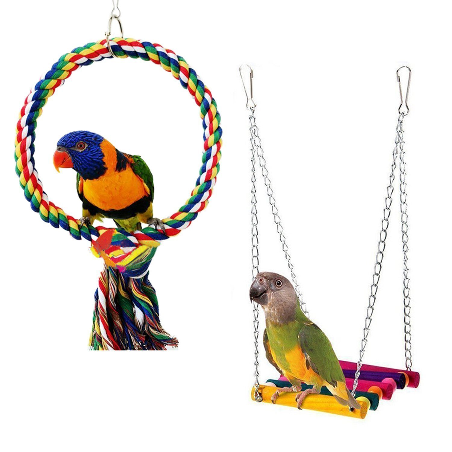 RYPET Bird Swing - Wooden Conure Toys Bird Cage Hammock Swing Hanging Toy for Small Parakeets Cockatiels, Conures, Macaws, Parrots, Love Birds, Finches(2 Packs)