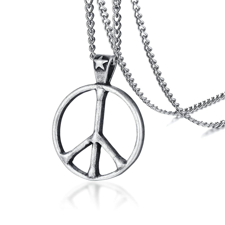 Aooaz jewelry stainless steel necklace men chain peace symbol aooaz jewelry stainless steel necklace men chain peace symbol pendant necklace silver aooaz amazon jewelry buycottarizona Gallery