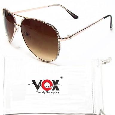 Aviator Lunettes de soleil strass Designer de Mode Vox Femmes Vintage Classique Chic Eyewear – Cadre Doré –Ambre lentille 6YcHJA4Ciz