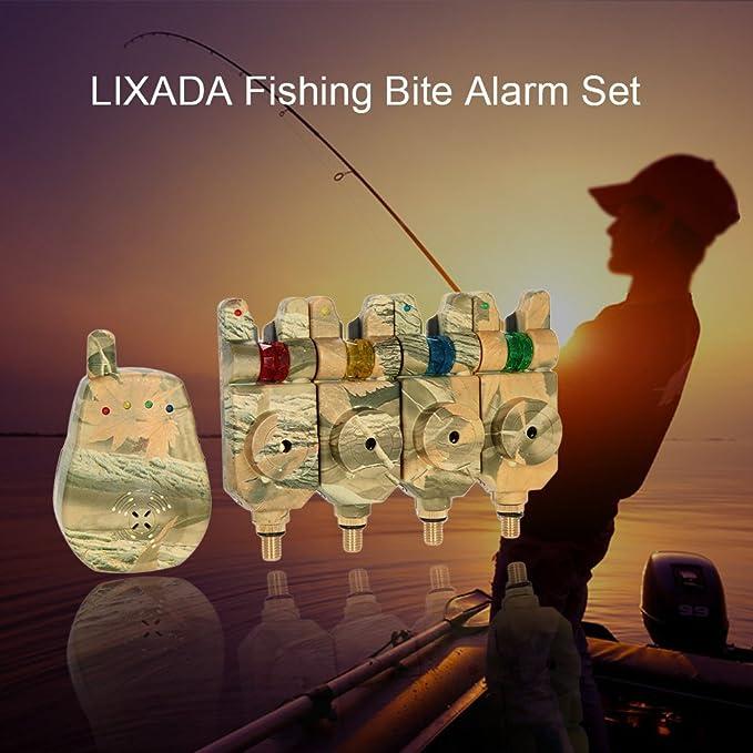 Lixada Inalámbrico LED Alarma Alerta de Pesca con Alarmas Mordedura de Pesca + Receptor