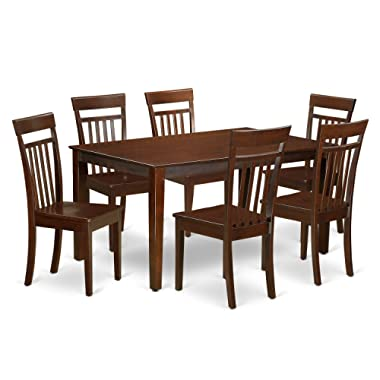 East West Furniture CAP7S-MAH-W and 6 Chairs Dining Table, Wood Seat, Mahogany Finish