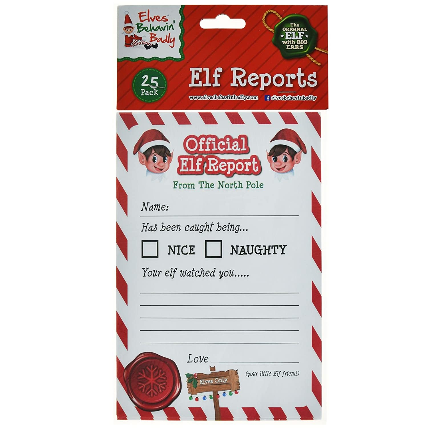 ASAB 25pk A5 Official Elf Report Card Corner Notes Christmas Xmas Naughty Nice Behaviour Children Kids Letter Game