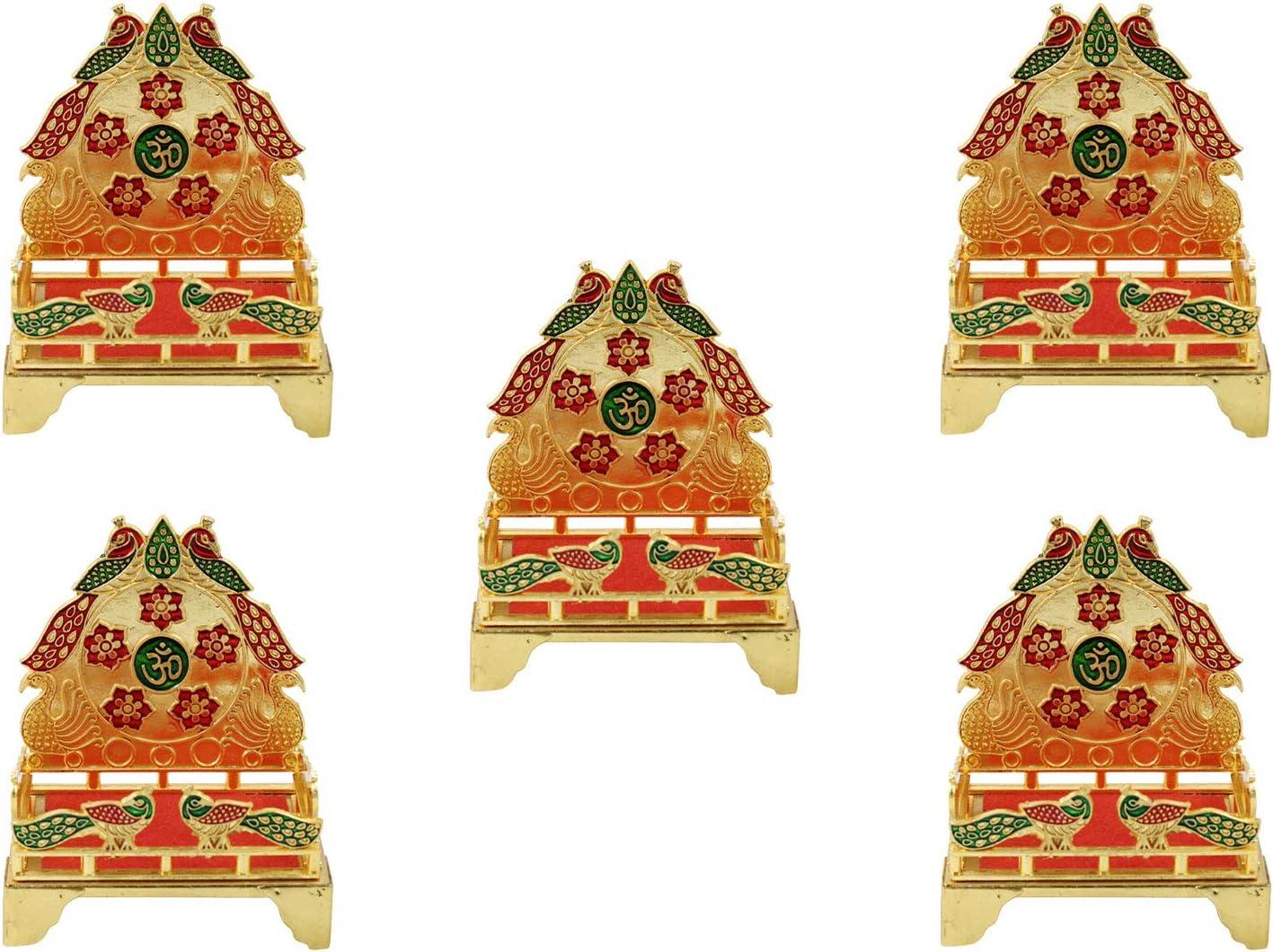 GoldGiftIdeas Gold Plated Peacock Shape Laddu Gopal Singhasan for Pooja, Singhasan for God Idols, Return Gifts for Housewarming, Pooja Items for Pooja Room (Pack of 5)