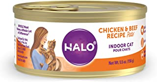 product image for Halo Grain Free Natural Wet Cat Food, Indoor Recipe Pate, 5.5-Ounce Can (Pack of 12)