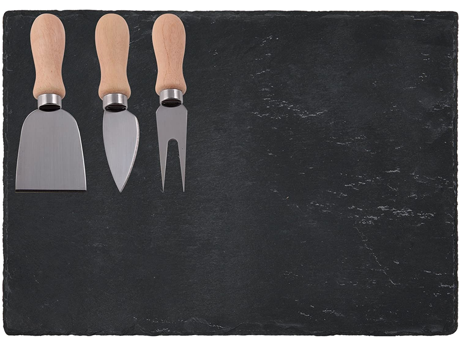 Creative Tops 4-Piece Natural Slate Chesse Board and Knife Set, Multi-Colour 5117534