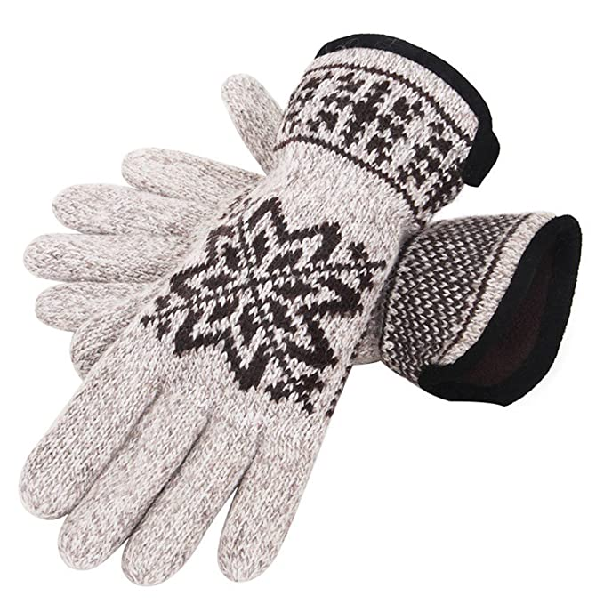 Dng Men Winter Cold Weather Super Warm Snowflake Pattern Knitted