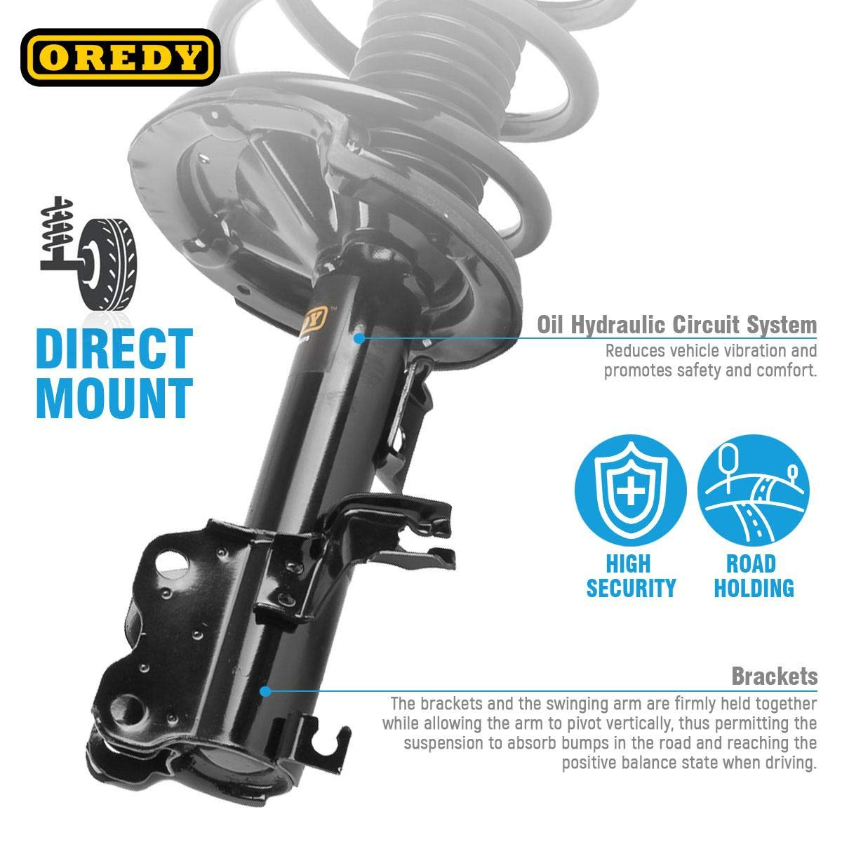 OREDY Front Pair 2 Pieces Complete Struts Coil Springs Mount Assembly Kit Shock Absorber 171426 171427 11592 11591 Compatible with 2002 2004 2005 2006 Altima FWD