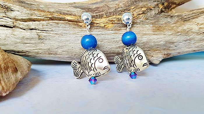 Amazon Silver Fish Stud Earrings Best Friend Birthday Gift Boho Dangle Graduation Teacher Gifts Beaded Statement Ocean Theme