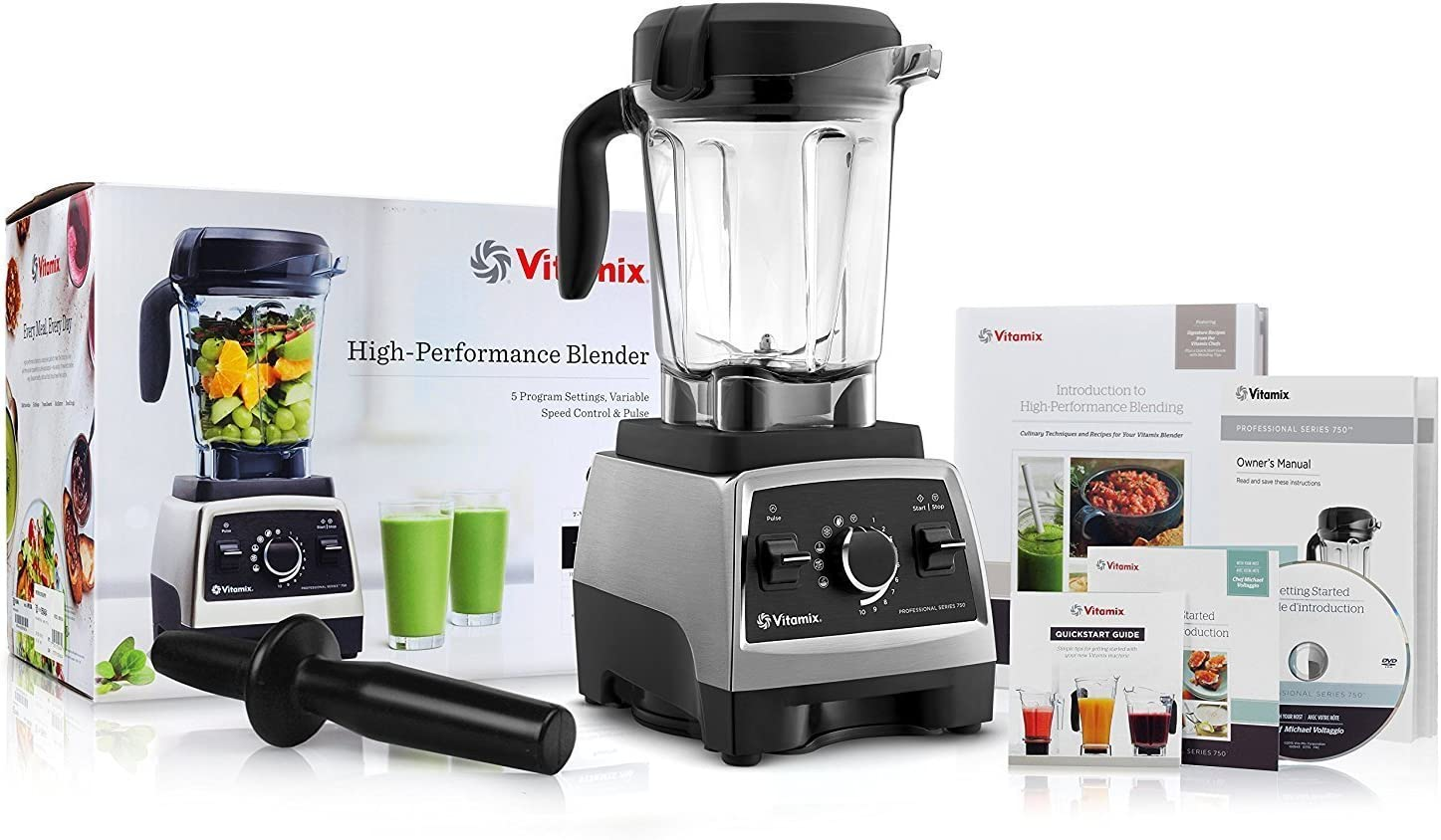 Vitamix 750 Heritage G-Series Blender with 64-Ounce Container Introduction to High Performance Blending Recipe Cookbook Getting Started DVD QuickStart Guide Low-Profile Tamper