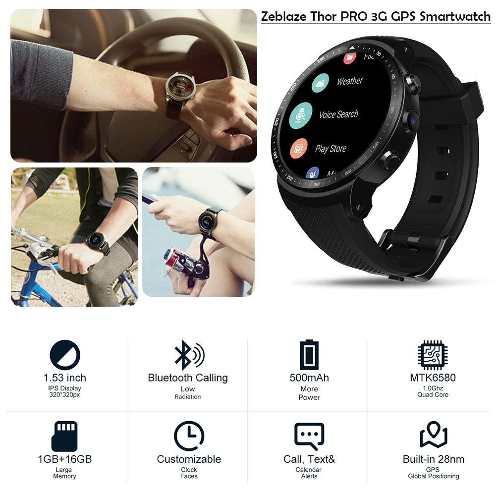Amazon.com: S WIDEN ELECTRIC Thor PRO 3G GPS Smartwatch 1.53 ...