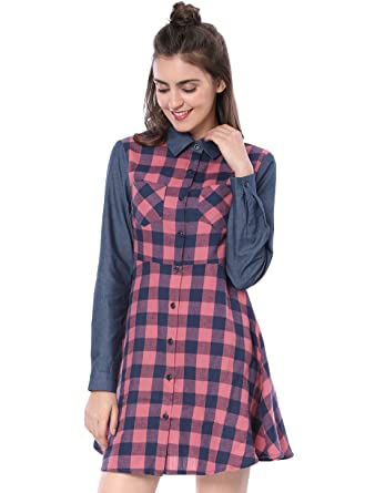 bbad20ea513 Allegra K Women s Denim Panel Long Sleeve Button Down Short A Line Plaid  Dress Pink X