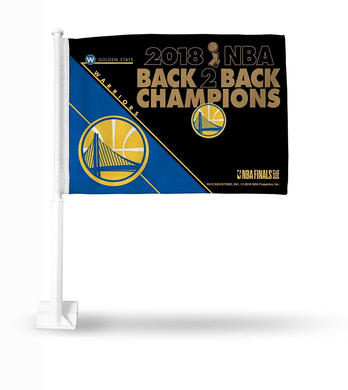 Rico Industries NBA Golden State Warriors 2018 Basketball Champions Car Flag, with White Pole Rico Industries - DROPSHIP FG960WC18