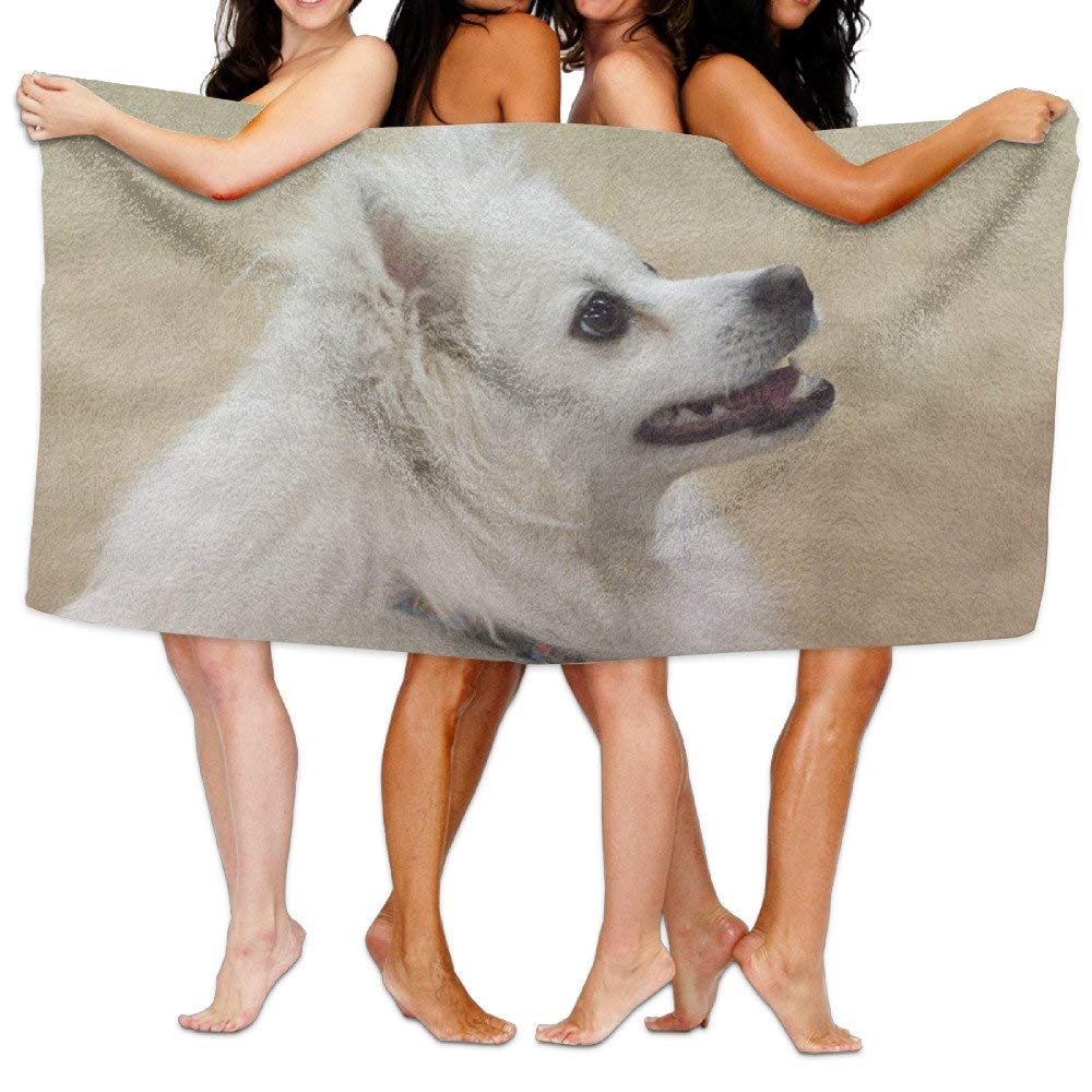 Chu warm Beach Blanket American Eskimo Dog Custom Fantastic Microfiber Absorbent Solid Large Beach Towel