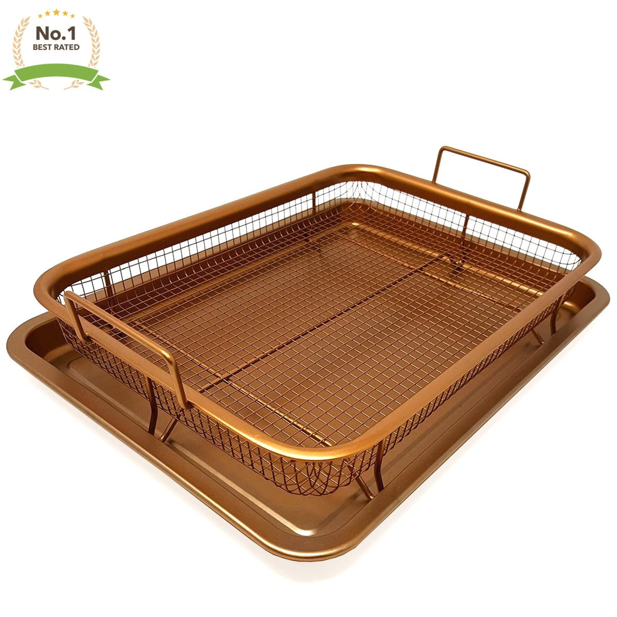 #1 Copper Oven Air Fryer Crisper Nonstick 2 Piece Tray With Mesh Basket for Oil-Free Air Frying