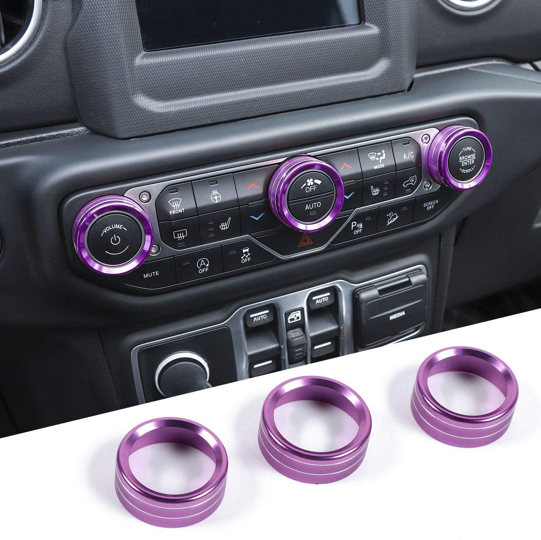Purple JeCar Air Conditioner Switch Knob Cover Aluminum Alloy Trim Cover for 2018-2020 Jeep Wrangler JL JLU /& 2020 Jeep Gladiators JT