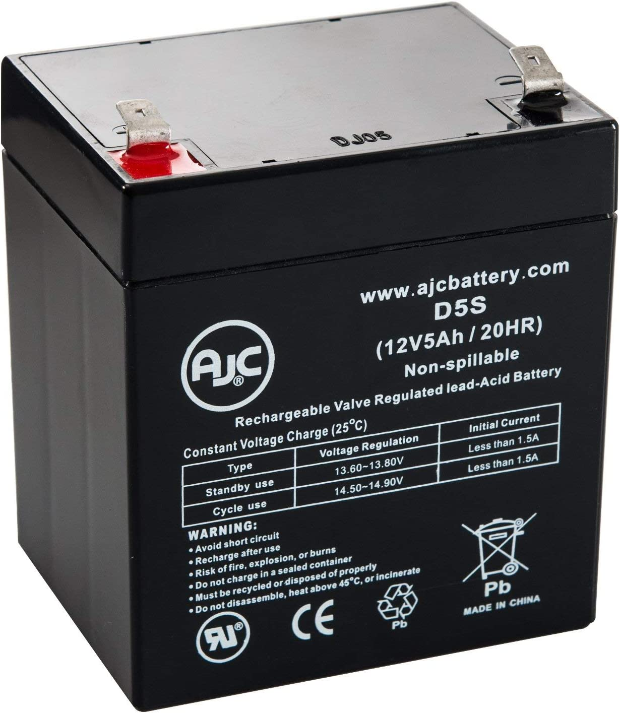 BSB GB12-4.5 12V 5Ah Sealed Lead Acid Battery This is an AJC Brand Replacement