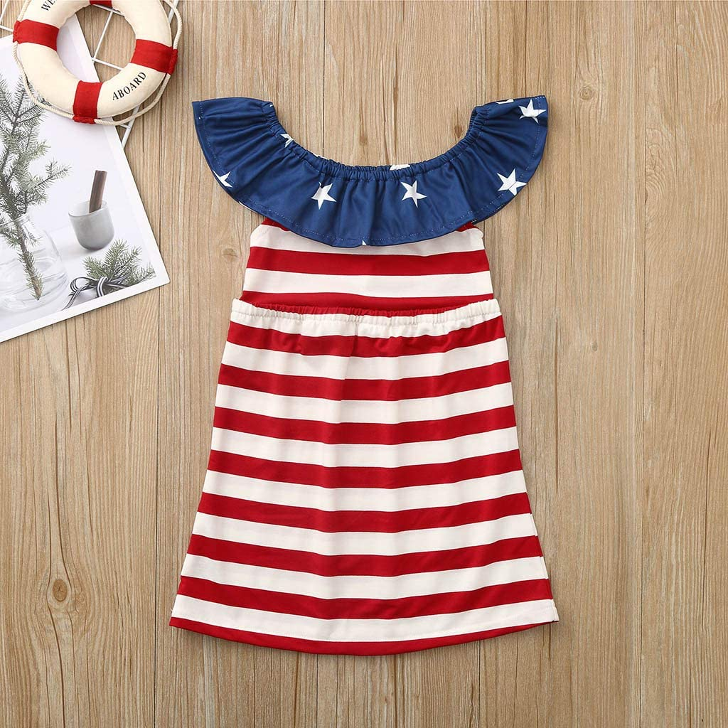 Beppter Kids Girls Girls Summer America Flag Style Print Sleeveless Off Shoulder Stripe Print Pleated Dress