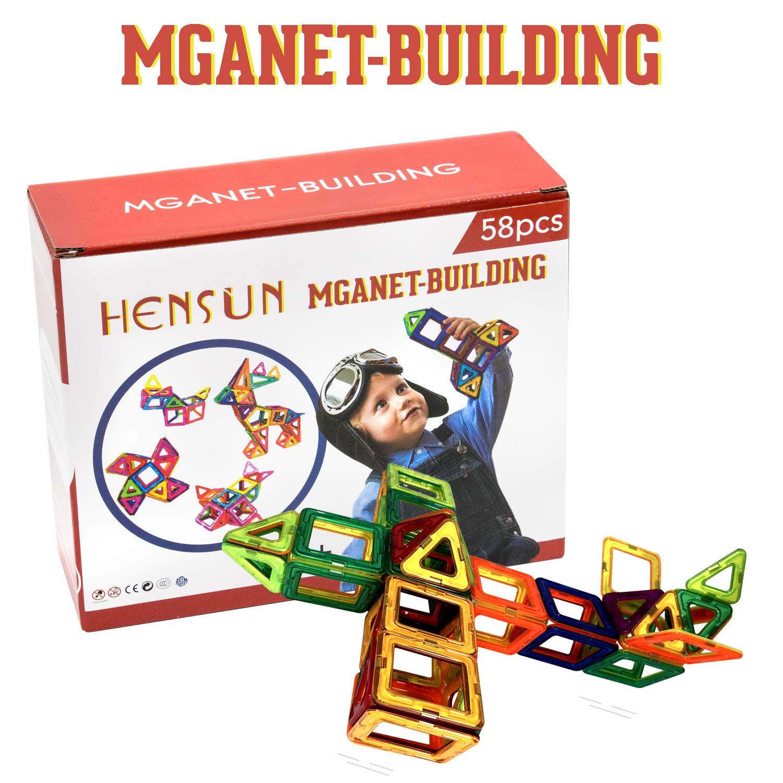 Magnetic Educational Stacking Blocks Boys Girls Toys with Storage Bag 58Piece HENSUN Magnet Building Tiles Blocks Magnetic 3D Building Blocks Set for Kids Toddlers