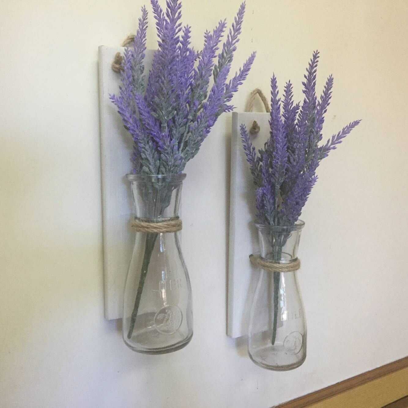 Set of 2 Mason Jar Sconces, Rustic Home Decor White Wood Mason Jar Wall Vase Wall Sconce Lavender Decoration Mother Gift