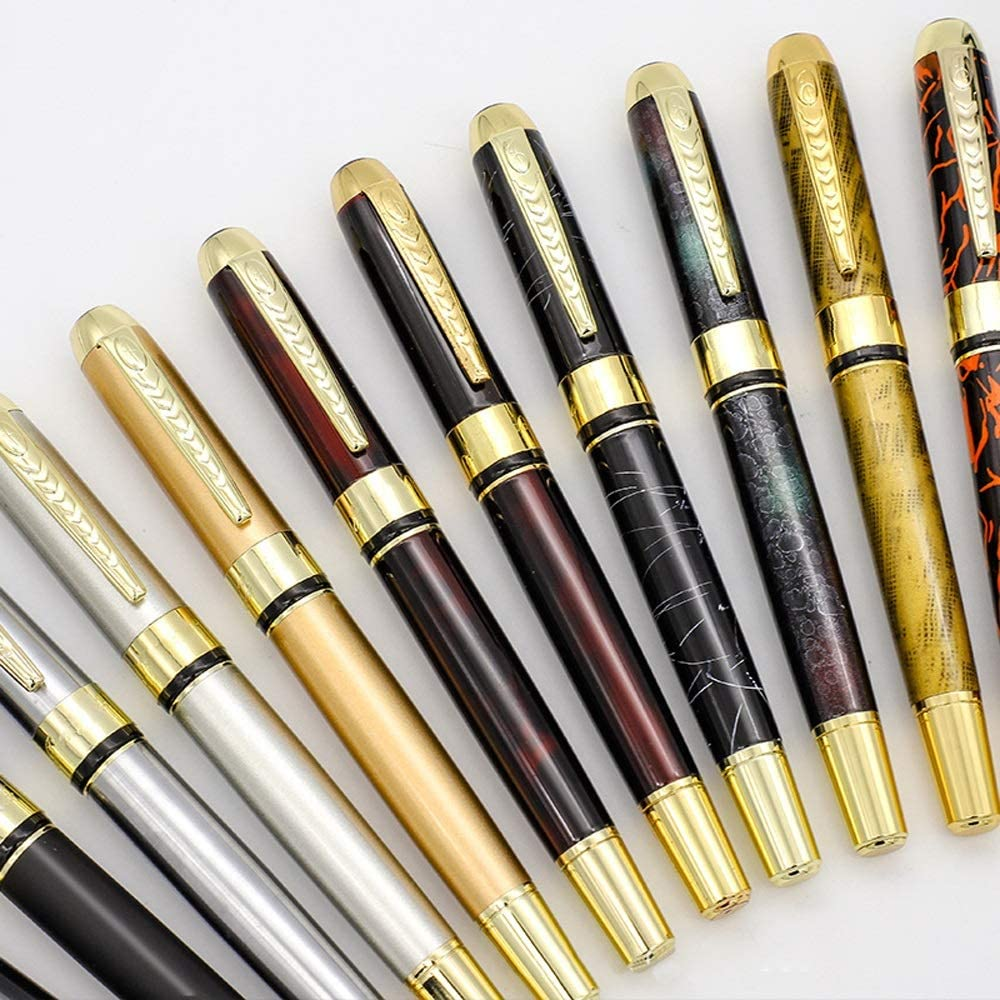 Color : Silver, Size : Free Fountain Pen 1 PC Full Metal Luxury Plating Ballpoint Pen Business Writing Signing Calligraphy Ball Pens Office Supplies Fountain Pen