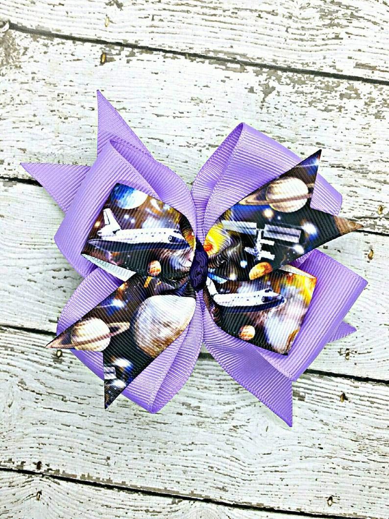 Purple Galaxy No Sew Bow Hairclip cute stars space accessory 1pc