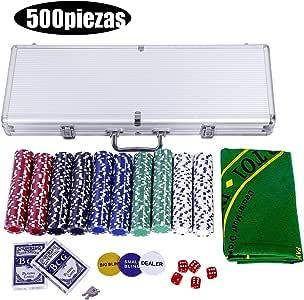 vengaconmigo Juego de Póker con Maletín con 500 Fichas Peso 11,5 G ...