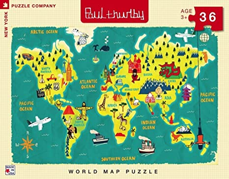 Amazon Com New York Puzzle Company Paul Thurlby World Map 36