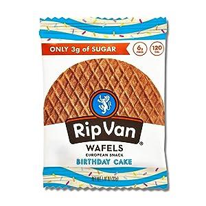 Rip Van Wafels Birthday Cake Stroopwafels - Healthy Snacks - Non GMO Snack - Keto Friendly - Office Snacks - Low Sugar (3g) - Low Calorie Snack - 12 Count