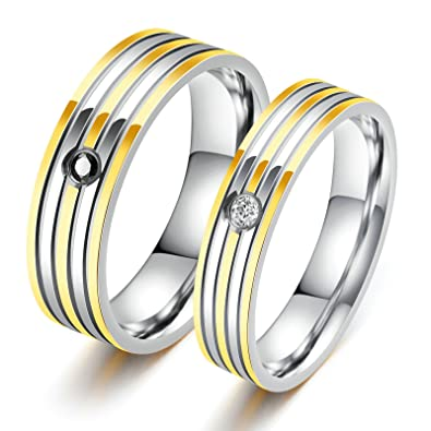 Aooaz 2 Pcs Rings Stainless Steel Band Rings Couple Rings Partner