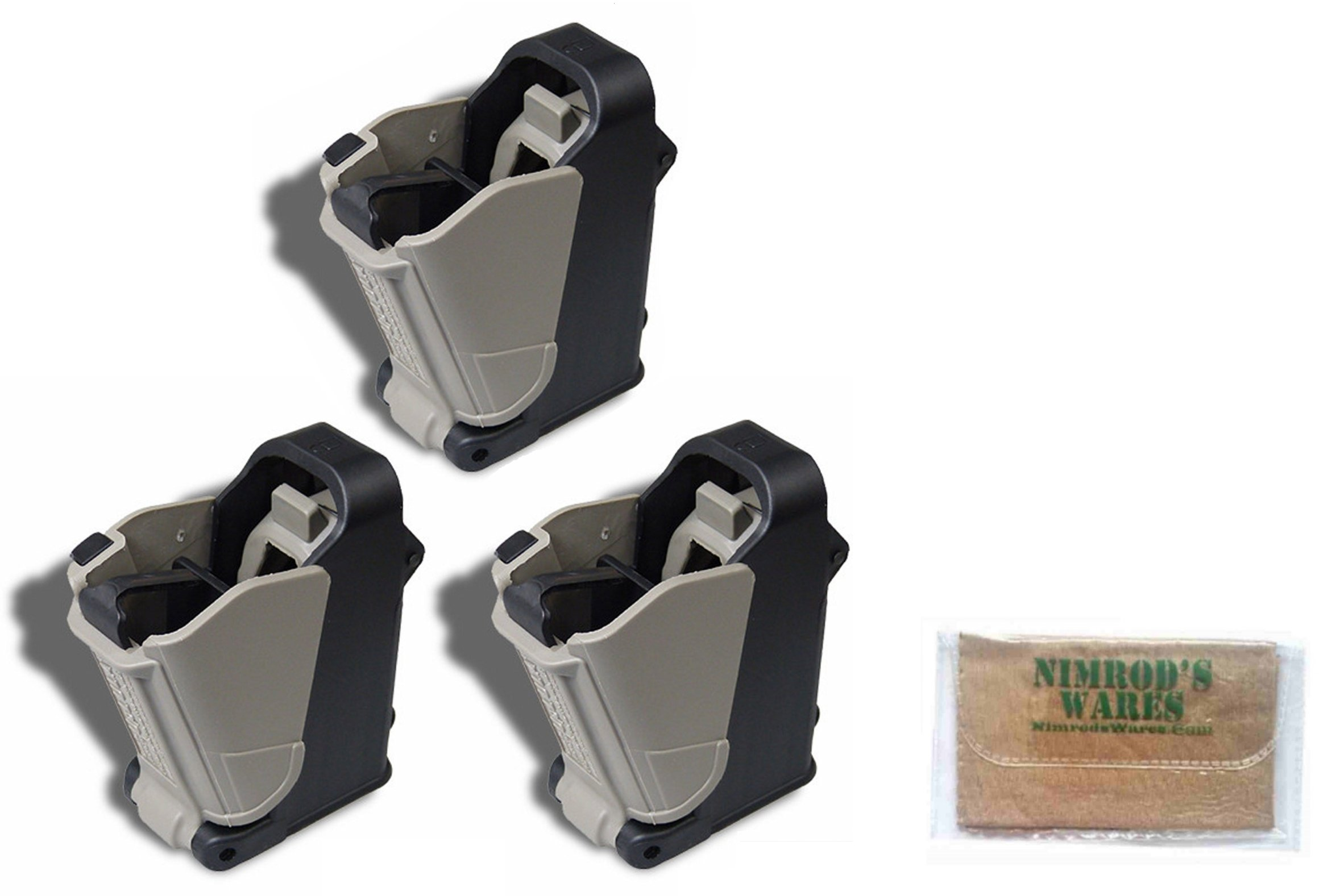 Nimrod's Wares 3-Pack MAGLULA 22LR Double-Stack+Converted Magazine Loader/Unloaders UP62B Microfiber Cloth