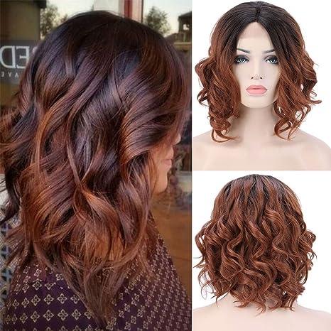 Peluca natural sintética para mujer, resistente al calor, ondulado natural, color marrón-