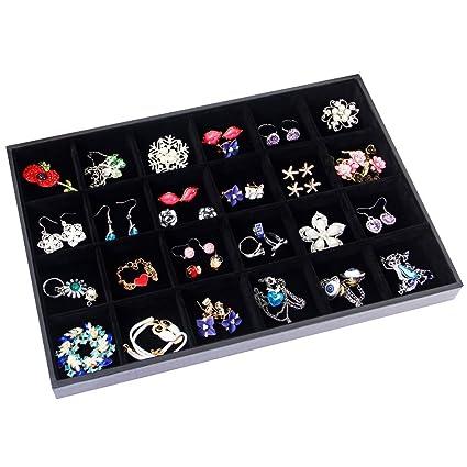Amazoncom Valdler Velvet Stackable 24 Grid Jewelry Tray Showcase